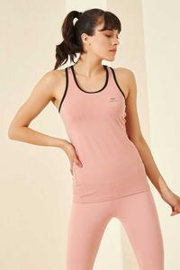 Tommy Life Toptan Pudra Kadın Kolsuz Sırt Detaylı Standart Kalıp Spor Atlet-97095 - Thumbnail