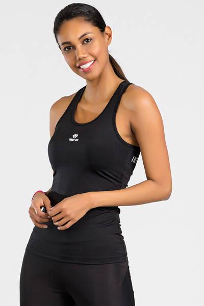 TommyLife - Tommy Life Toptan Arka Yazı Detaylı Siyah-Beyaz Micro Kadın Sporcu Atlet