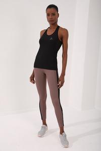 TommyLife - Tommy Life Toptan Siyah Kadın Çapraz Askılı Kolsuz Standart Kalıp Spor Atlet-97094