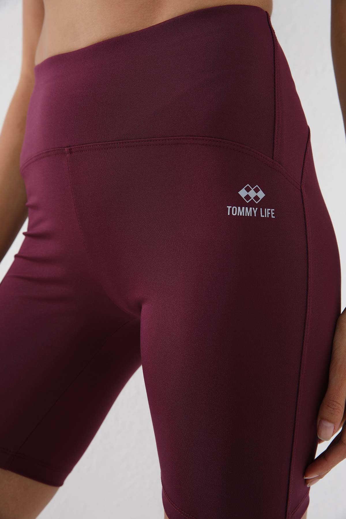 Tommy Life Toptan Bordo Kadın Yüksek Bel Toparlayıcı Kısa Biker Tayt - 91007