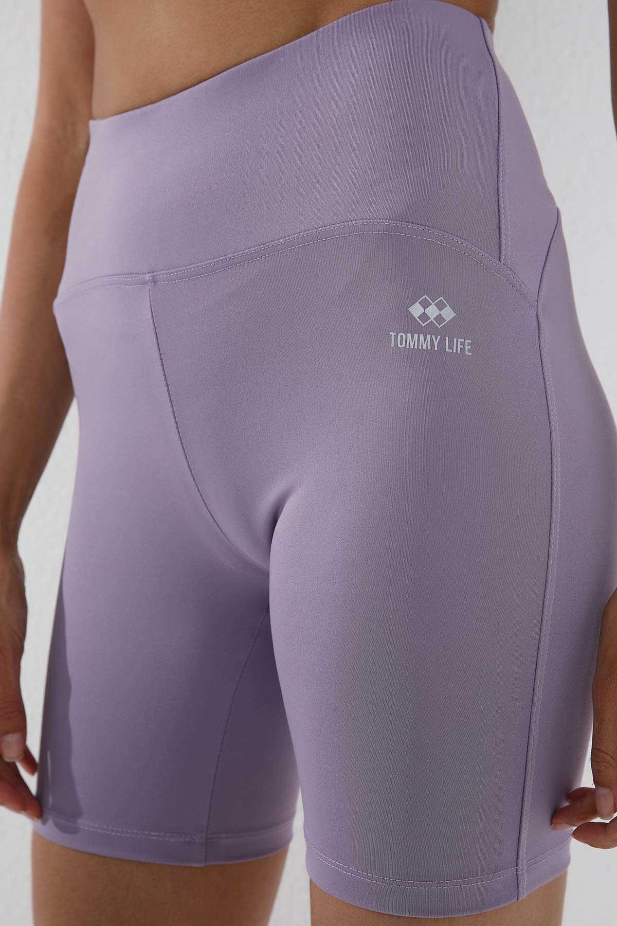 Tommy Life Toptan Eflatun Kadın Yüksek Bel Toparlayıcı Kısa Biker Tayt - 91007
