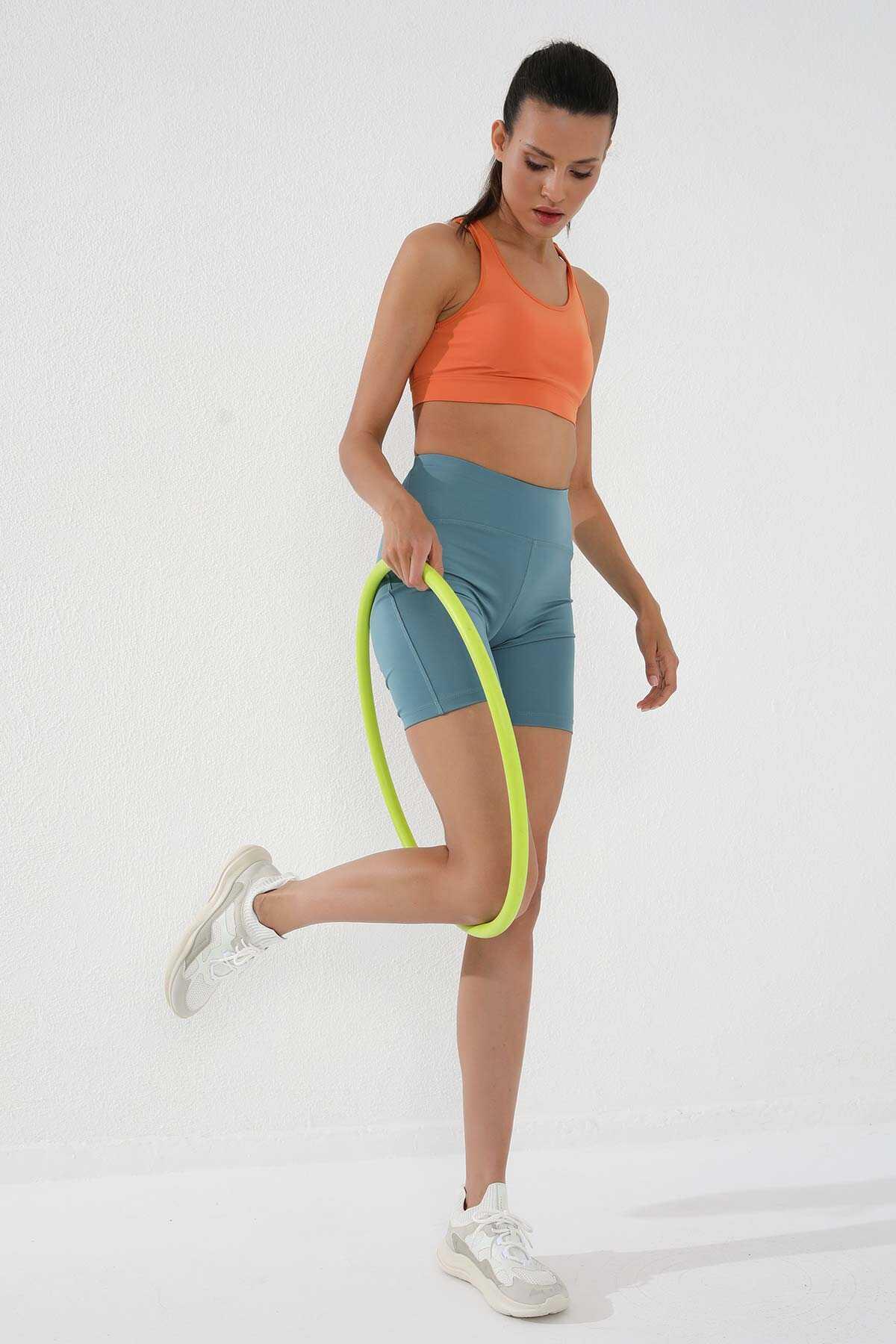 Tommy Life Toptan Mint Yeşili Kadın Yüksek Bel Toparlayıcı Kısa Biker Tayt - 91007