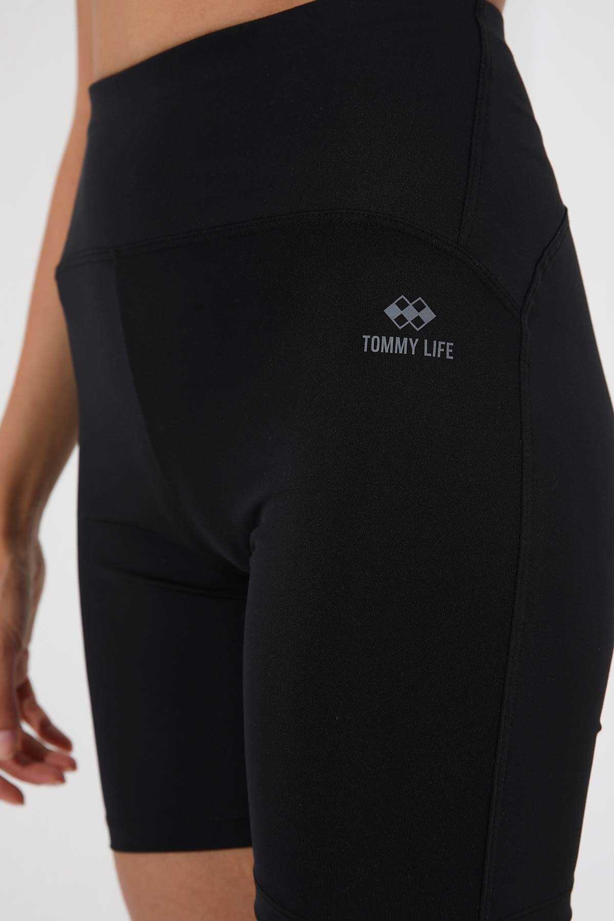 Tommy Life Toptan Siyah Kadın Yüksek Bel Toparlayıcı Kısa Biker Tayt - 91007