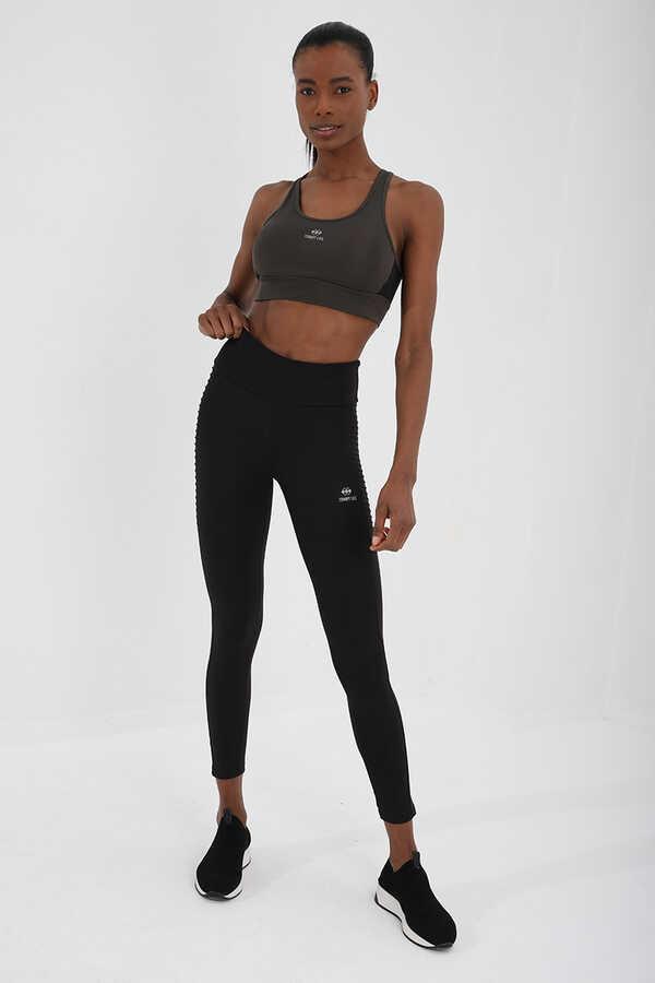 Tommy Life Toptan Haki Kadın Çapraz Sırt Detaylı Slim Fit U Yaka Spor Büstiyer - 97121
