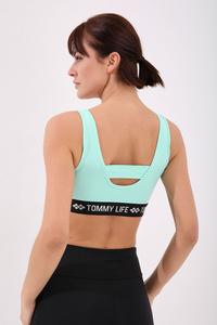 Tommy Life Toptan Mint Yeşili Kadın Yazı Şeritli Standart Kalıp U Yaka Spor Büstiyer - 97113 - Thumbnail