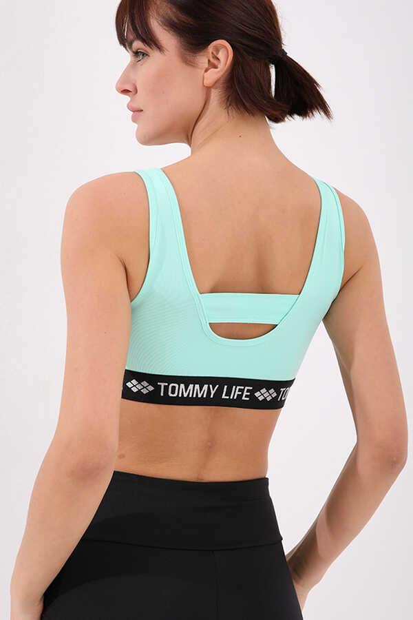 Tommy Life Toptan Mint Yeşili Kadın Yazı Şeritli Standart Kalıp U Yaka Spor Büstiyer - 97113