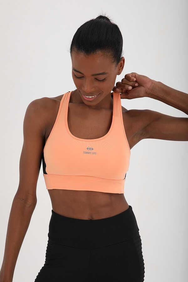 Tommy Life Toptan Yavruağzı Kadın Çapraz Sırt Detaylı Slim Fit U Yaka Spor Büstiyer - 97121