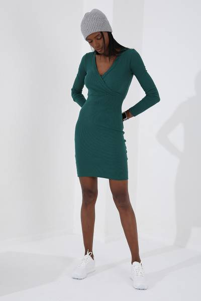 TommyLife - Tommy Life Toptan Kruvaze Yaka Yeşil Kadın Kaşkorse Elbise