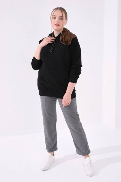 TommyLife - Tommy Life Toptan Gri Melanj Kadın Cepli Rahat Form Klasik Paça Büyük Beden Eşofman Alt-94017