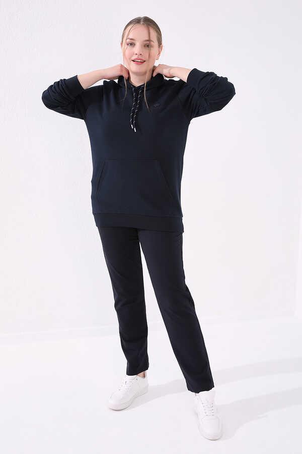 Tommy Life Toptan Lacivert Kadın Cepli Rahat Form Klasik Paça Büyük Beden Eşofman Alt-94014