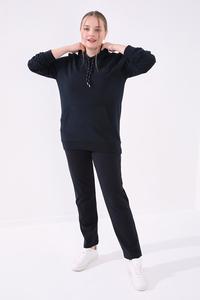 Tommy Life Toptan Lacivert Kadın Cepli Rahat Form Klasik Paça Büyük Beden Eşofman Alt-94014 - Thumbnail