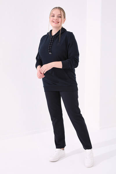TommyLife - Tommy Life Toptan Lacivert Kadın Cepli Rahat Form Klasik Paça Büyük Beden Eşofman Alt-94014