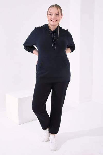 TommyLife - Tommy Life Toptan Cep Detaylı Büyük Beden Lacivert Kadın Klasik Paça Eşofman Alt