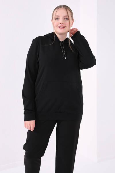 TommyLife - Tommy Life Toptan Siyah Kadın Taş Detaylı Cepli Rahat Form Klasik Paça Büyük Beden Eşofman Alt-94468