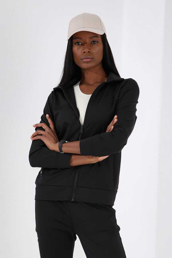 Tommy Life Toptan Gizli Cep fermuarlı Siyah Kadın Eşofman Takım