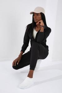 Tommy Life Toptan Gizli Cep fermuarlı Siyah Kadın Eşofman Takım - Thumbnail