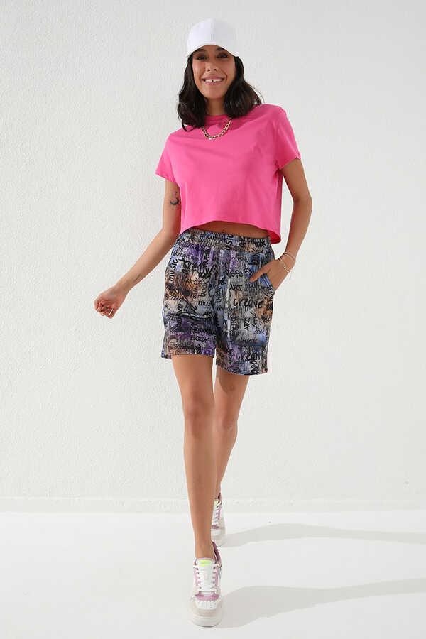 Tommy Life Toptan Mor Kadın Yazı Baskılı Batik Desenli Bağcıklı Rahat Form Bermuda Şort-91006