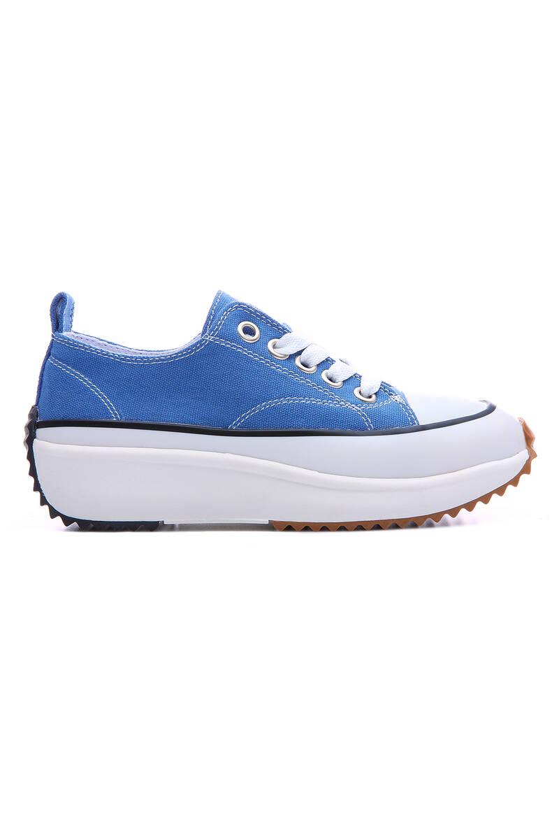 TommyLife - Açık Mavi Kadın Bağcıklı Yüksek Taban Günlük Spor Ayakkabı-89070
