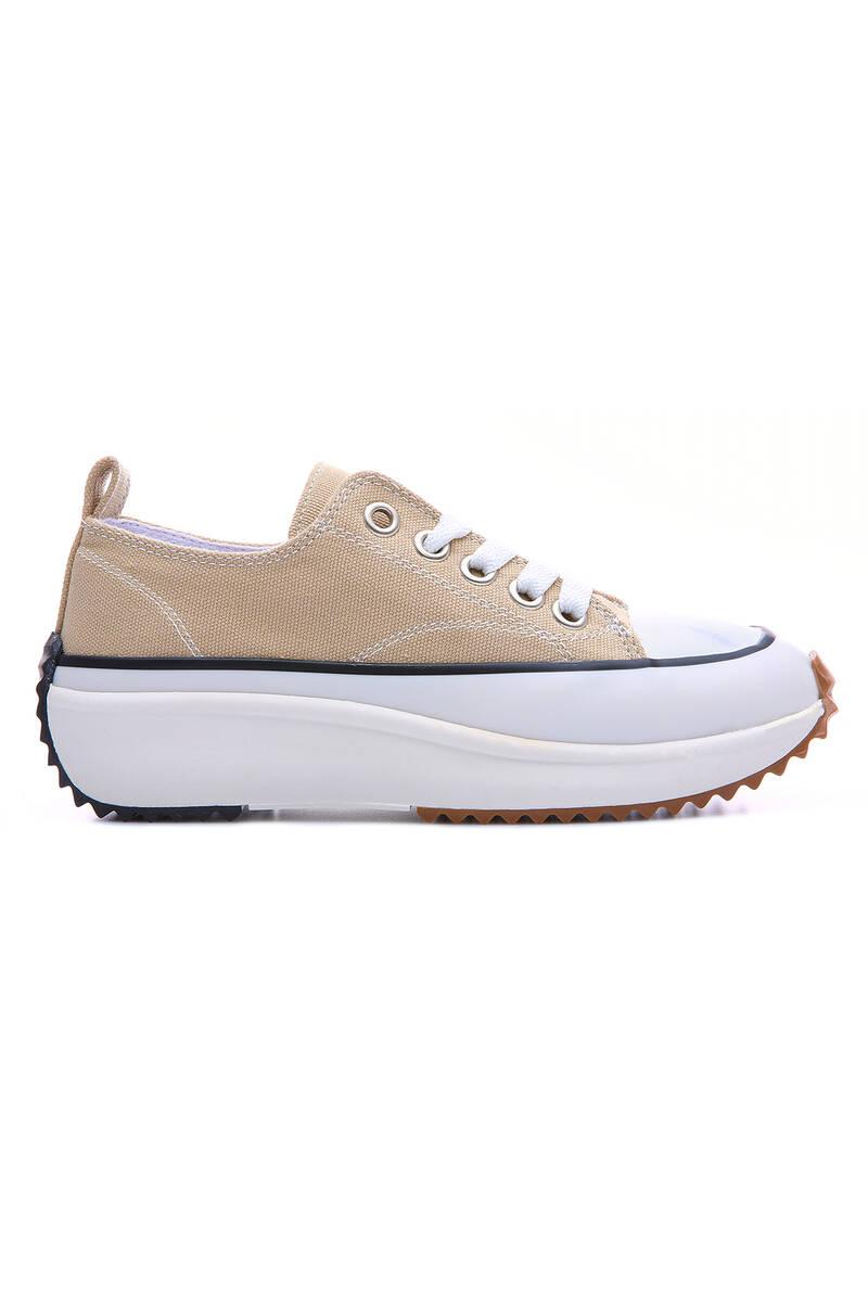 TommyLife - Bej Kadın Bağcıklı Yüksek Taban Günlük Spor Ayakkabı-89070