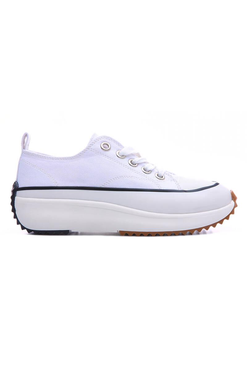 TommyLife - Beyaz Kadın Bağcıklı Yüksek Taban Günlük Spor Ayakkabı-89070