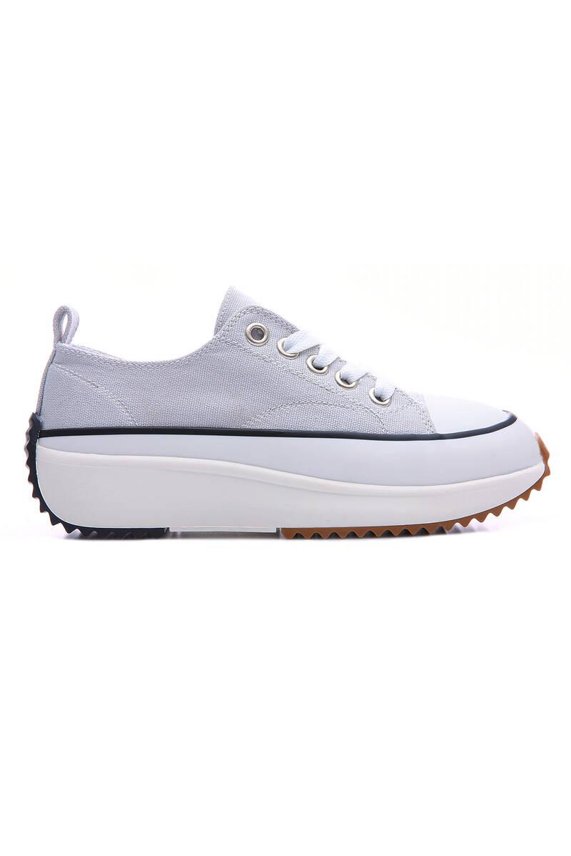 TommyLife - Füme Kadın Bağcıklı Yüksek Taban Günlük Spor Ayakkabı-89070