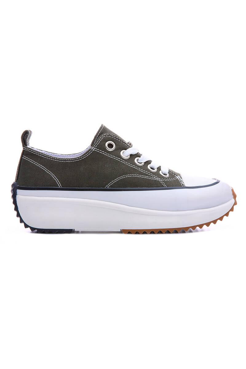 TommyLife - Haki Kadın Bağcıklı Yüksek Taban Günlük Spor Ayakkabı-89070