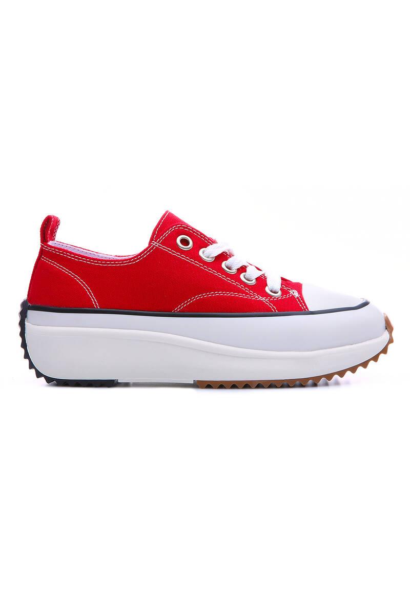 TommyLife - Kırmızı Kadın Bağcıklı Yüksek Taban Günlük Spor Ayakkabı-89070