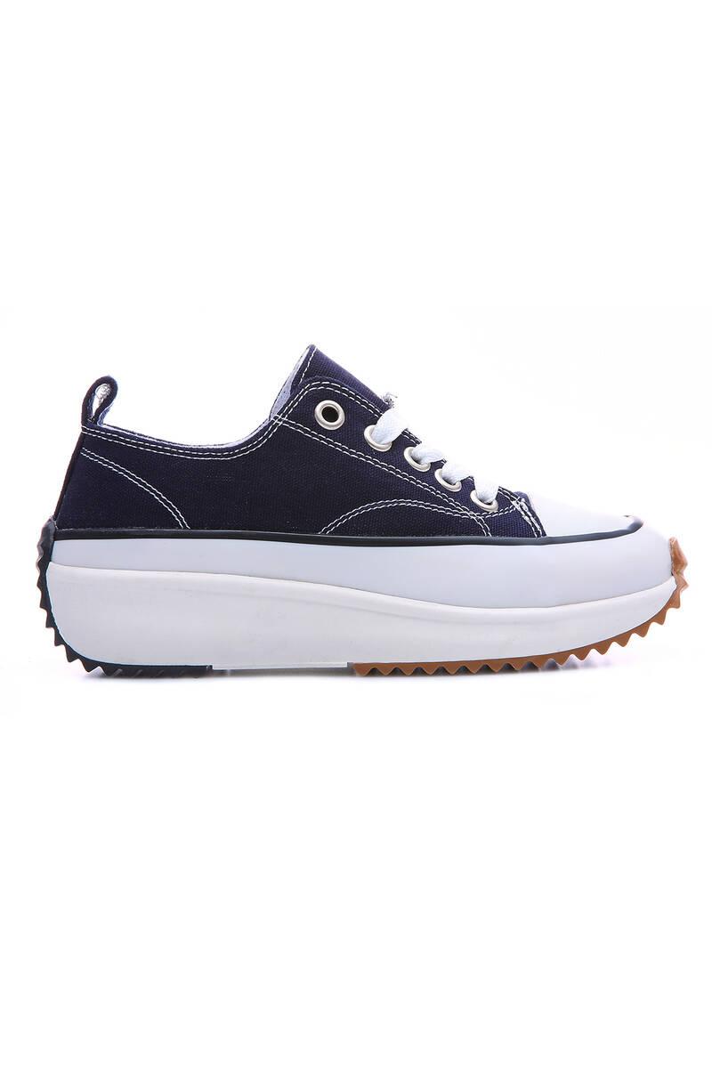 TommyLife - Lacivert Kadın Bağcıklı Yüksek Taban Günlük Spor Ayakkabı-89070