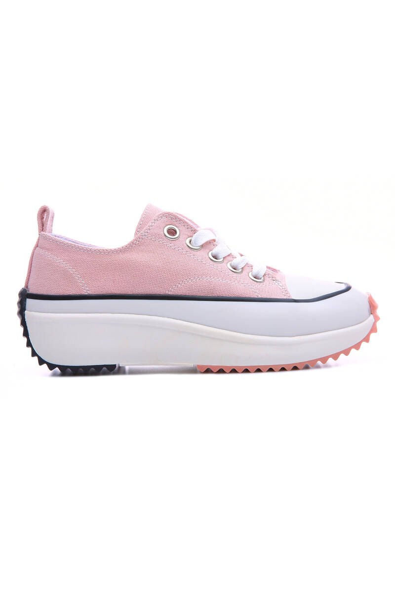 TommyLife - Pudra Kadın Bağcıklı Yüksek Taban Günlük Spor Ayakkabı-89070
