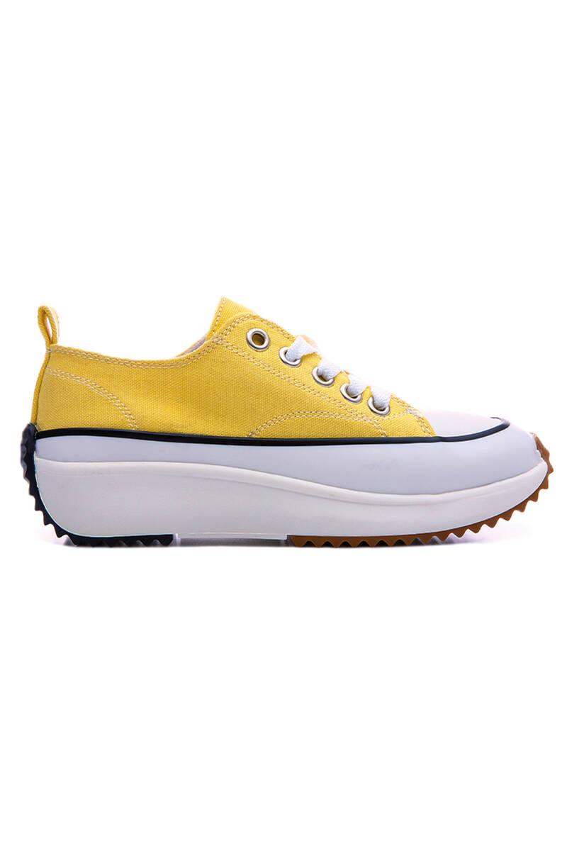 TommyLife - Sarı Kadın Bağcıklı Yüksek Taban Günlük Spor Ayakkabı-89070