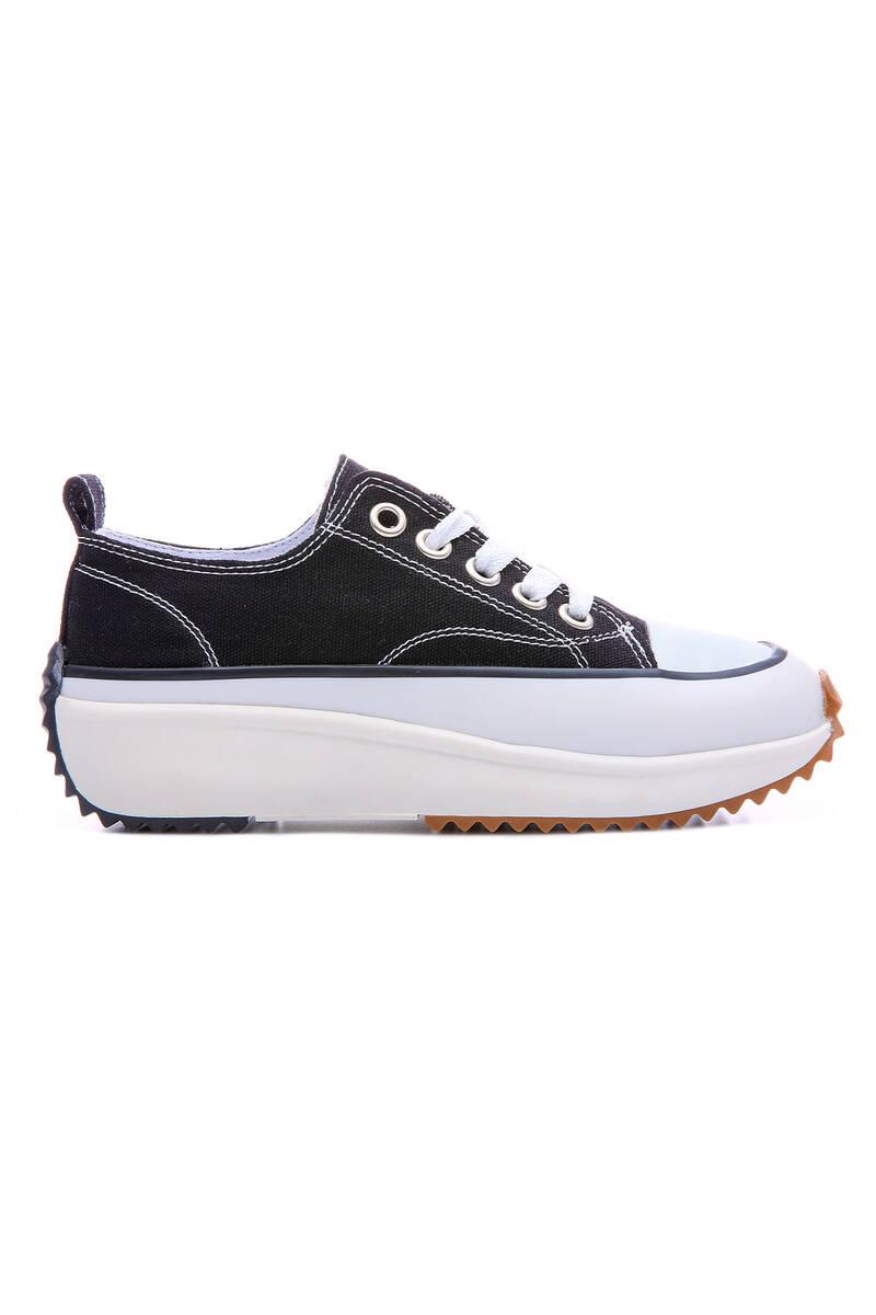 TommyLife - Siyah-Beyaz Kadın Bağcıklı Yüksek Taban Günlük Spor Ayakkabı-89070