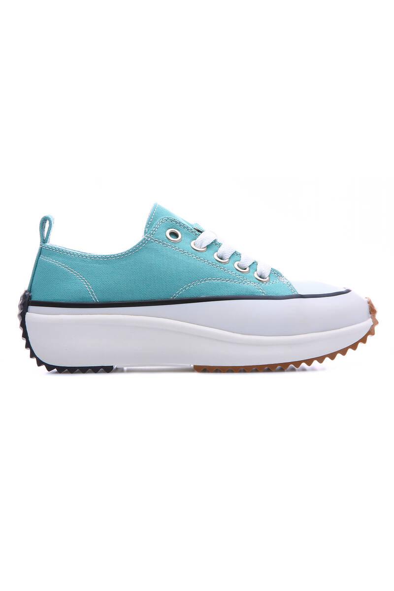 TommyLife - Su Yeşili Kadın Bağcıklı Yüksek Taban Günlük Spor Ayakkabı-89070