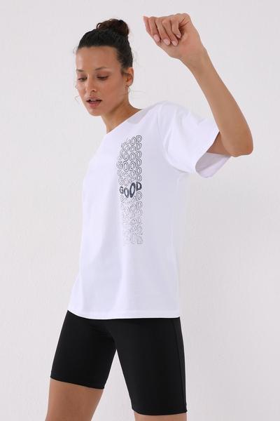 TommyLife - Tommy Life Toptan Beyaz Kadın Deforme Yazı Baskılı Oversize O Yaka T-Shirt - 97134