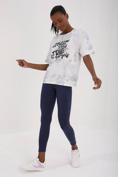 TommyLife - Tommy Life Toptan Mor Kadın Yazı Baskılı Batik Desenli Oversize O Yaka T-Shirt