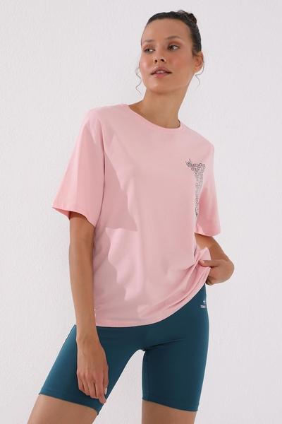 TommyLife - Tommy Life Toptan Pembe Kadın Deforme Yazı Baskılı Oversize O Yaka T-Shirt - 97134