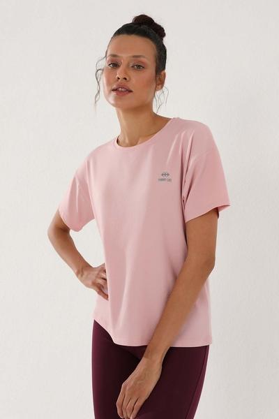 TommyLife - Tommy Life Toptan Pembe Kadın Arkası Uzun Kısa Kol Standart Kalıp O Yaka T-Shirt - 97152