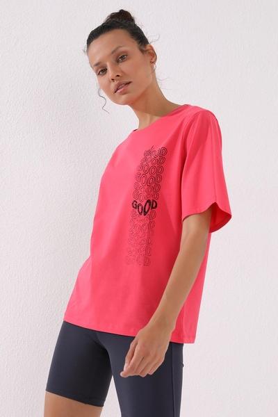 TommyLife - Tommy Life Toptan Rose Kadın Deforme Yazı Baskılı Oversize O Yaka T-Shirt - 97134
