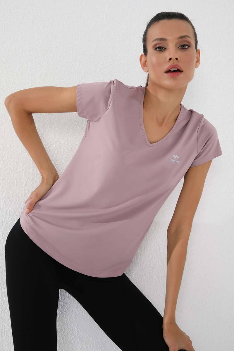 TommyLife - Tommy Life Toptan Gül Kurusu Kadın Basic Kısa Kol Standart Kalıp V Yaka T-Shirt - 97145