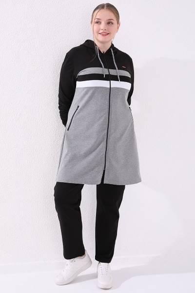 TommyLife - Tommy Life Toptan Gri Melanj-Siyah Kadın Kapüşonlu Fermuarlı Rahat Form Klasik Paça Büyük Beden Tunik Takım-95217