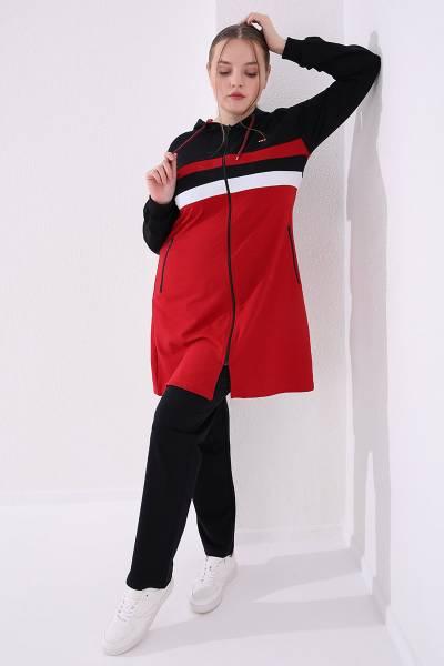 TommyLife - Tommy Life Toptan Kırmızı-Lacivert Kadın Kapüşonlu Fermuarlı Rahat Form Klasik Paça Büyük Beden Tunik Takım-95217
