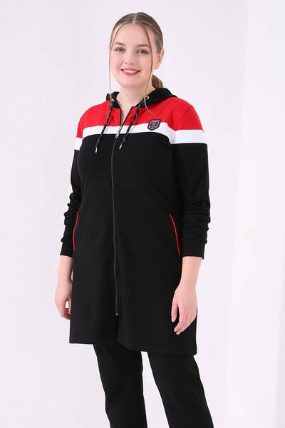 TommyLife - Tommy Life Toptan Siyah-Kırmızı Kadın Kapüşonlu Cepli Rahat Form Klasik Paça Büyük Beden Tunik Takım-95060