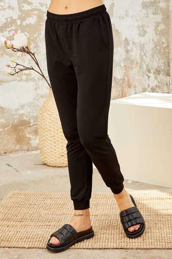 Tommy Life Toptan Bordo-Siyah Kadın O Yaka Nakışlı Rahat Form Jogger Eşofman Tunik Takım-95235_01