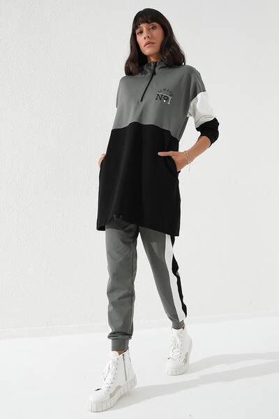 TommyLife - Tommy Life Toptan Çağla Kadın Yarım Fermuar Cepli Rahat Form Jogger Eşofman Tunik Takım-95249