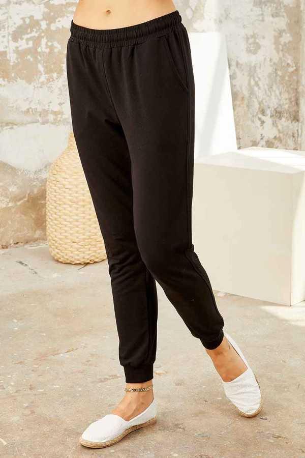 Tommy Life Toptan Ekru-Siyah Kadın O Yaka Nakışlı Rahat Form Jogger Eşofman Tunik Takım-95235_01