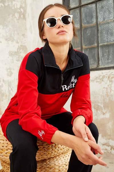 TommyLife - Tommy Life Toptan Dik Yaka Yarım Fermuar Kırmızı-Lacivert Kadın Tunik Takım