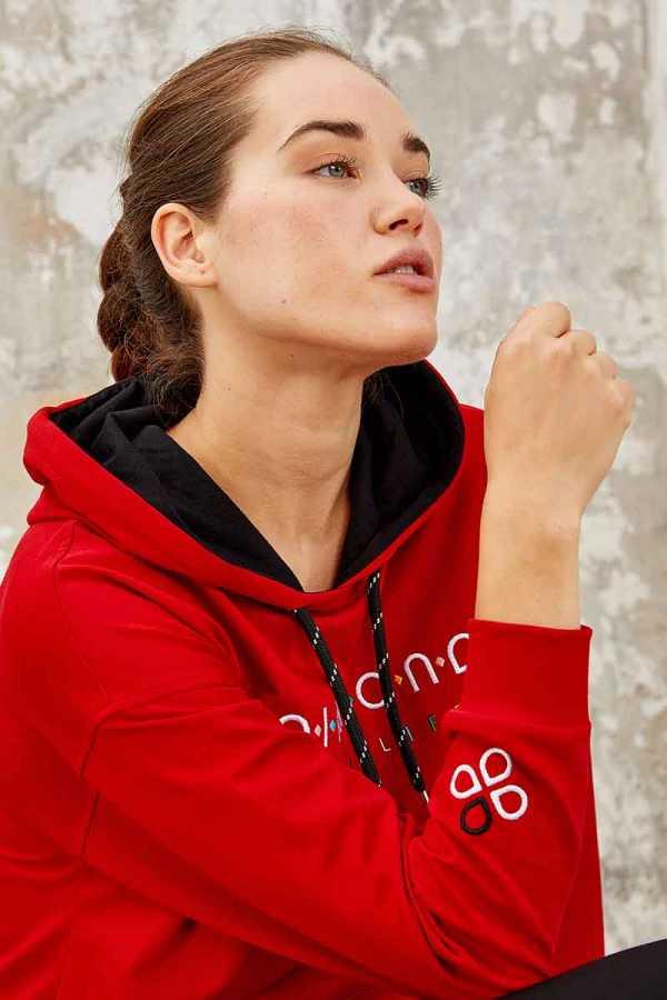 Tommy Life Toptan Kırmızı-Siyah Kadın Kapüşonlu Yazı Nakışlı Rahat Form Dar Paça Eşofman Tunik Takım-95246