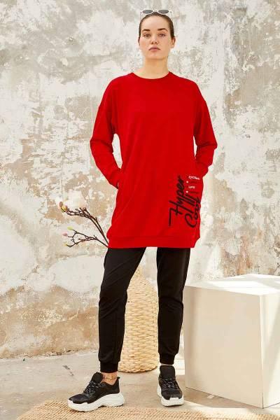TommyLife - Tommy Life Toptan Kırmızı-Siyah Kadın O Yaka Nakışlı Rahat Form Jogger Eşofman Tunik Takım-95235_01