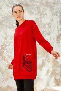 Tommy Life Toptan Kırmızı-Siyah Kadın O Yaka Nakışlı Rahat Form Jogger Eşofman Tunik Takım-95235_01 - Thumbnail
