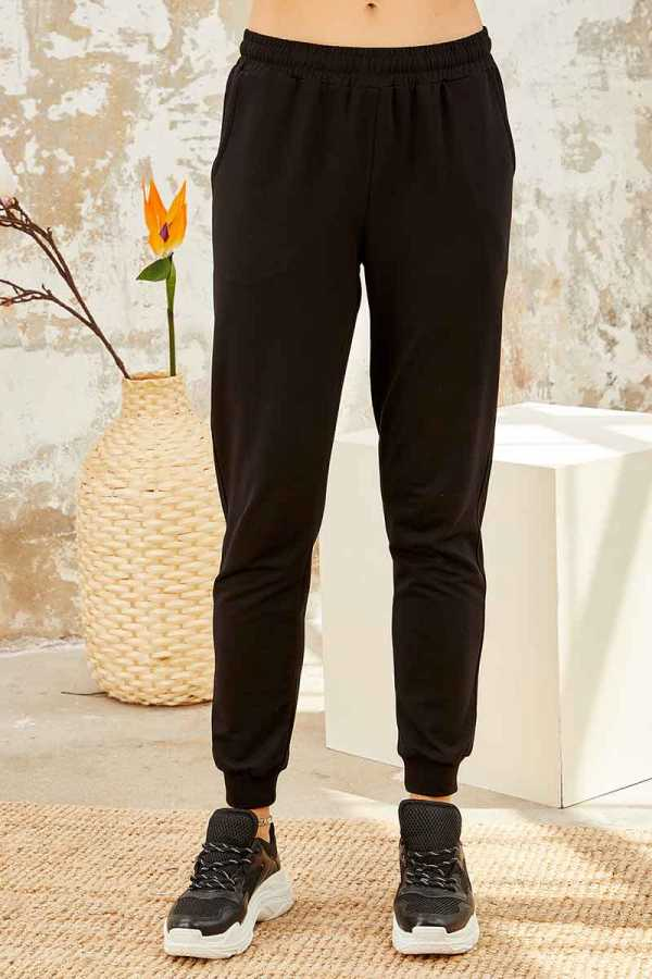Tommy Life Toptan Kırmızı-Siyah Kadın O Yaka Nakışlı Rahat Form Jogger Eşofman Tunik Takım-95235_01