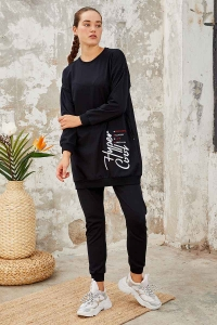 Tommy Life Toptan Lacivert Kadın O Yaka Nakışlı Rahat Form Jogger Eşofman Tunik Takım-95235_01 - Thumbnail